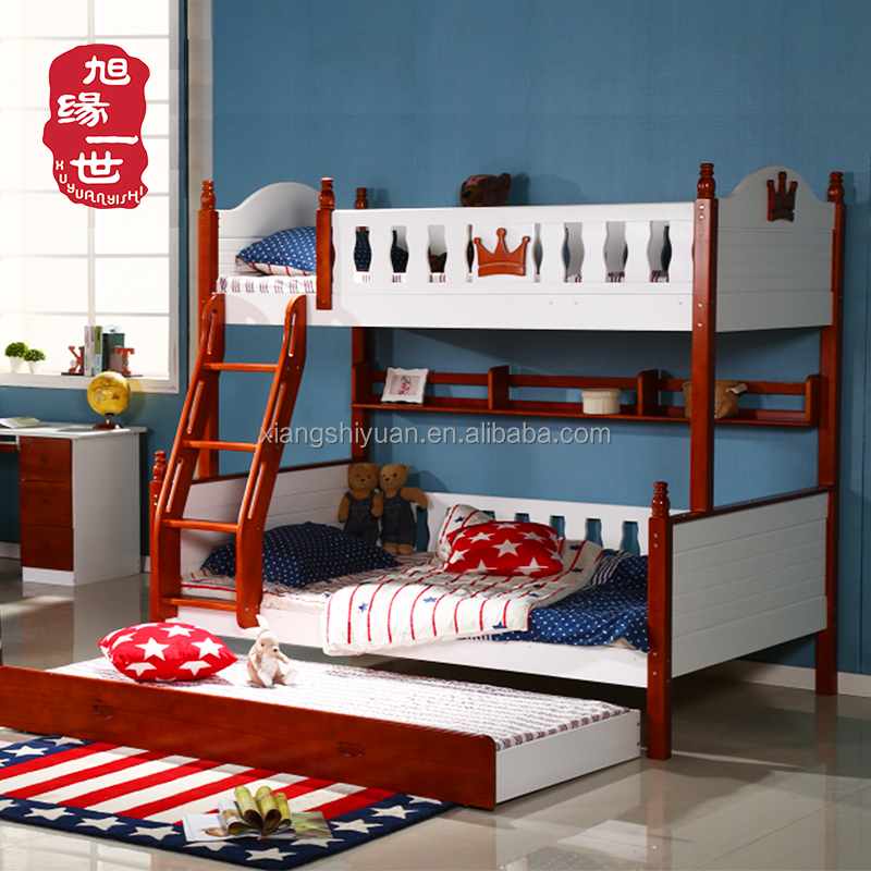 Durable children furniture solid wood kids separable bunk beds with safety ladder stairs
