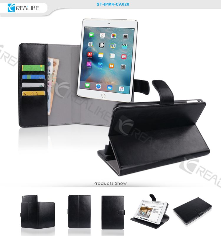 New products strong magnet removable stand case for ipad mini 4 with many card pockets