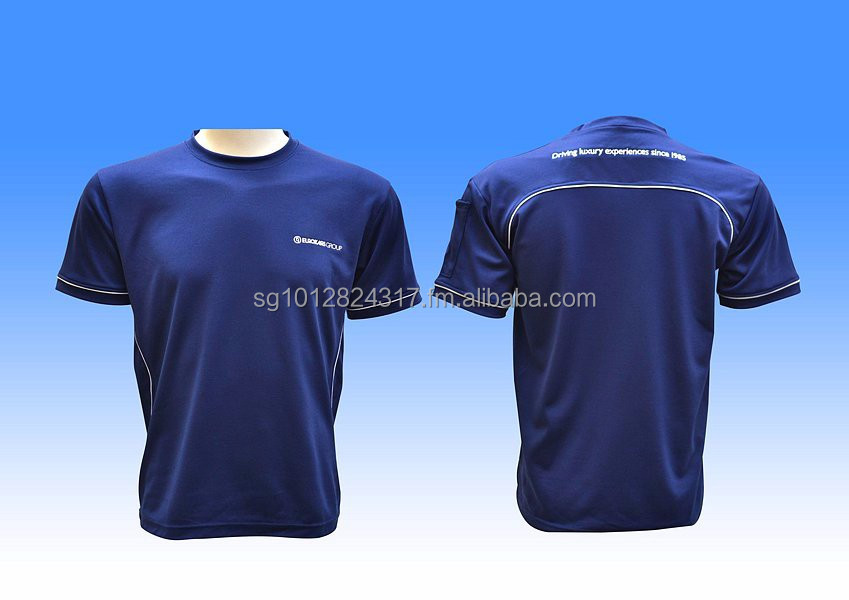 Customized Dri-fit fabric material roundneck shirt with 1 colored piping and 1 colored printings on both sides.