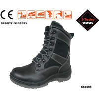 Steel toe safety boots with lace