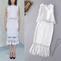 2015 Summer New Fashion Runway Women's Elegant Vest Double Layer Organza Top + Lace Midi Skirt White Set