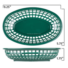 12 PK Custom Diner Forest Green Plastic Oval Shape Fast Food Baskets Durable Reusable Microwave and Dishwasher Safe Bread Basket