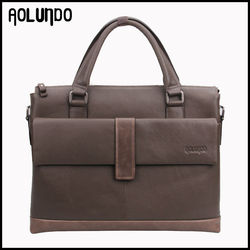 Genuine cow leather high end men laptop bag