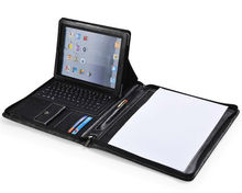 iPad Zippered Leather Padfolio With Bluetooth Keyboard and Angle Viewing