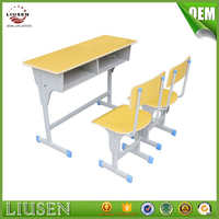 Excellent quality modern school furniture wooden double school desk and chair
