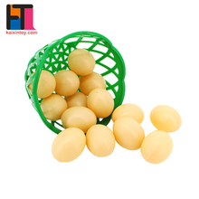 Kitchen game 14pcs simulated chicken plastic toy egg with basket