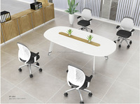 Modern style medium size conference table with metal legs