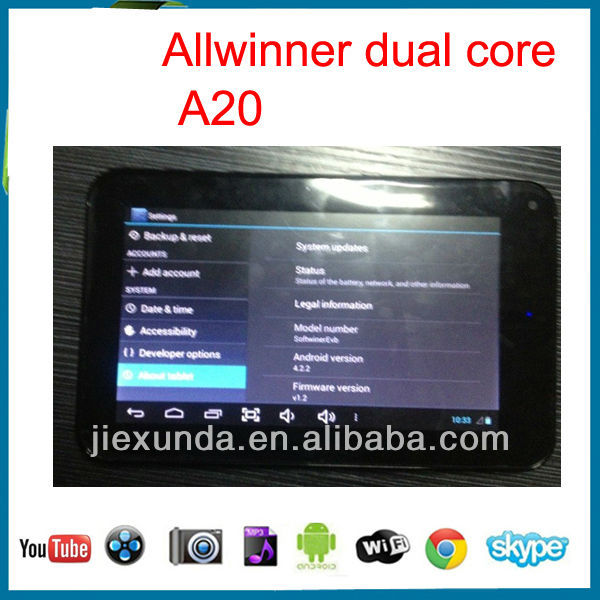 New android hdmi dual core tablet allwinner A20 1g ram 8g rom gaming tablet