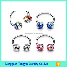 Lip Horseshoe Bar Nose Ear Nipple Hoop Ring Crystal Piercing Jewelry with Gem Ball