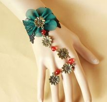 Handmade Gothic Lolita Retro Lace Slave Bracelet Ring Wedding Wristband Red Beads Peacock Green Chiffon Flowers