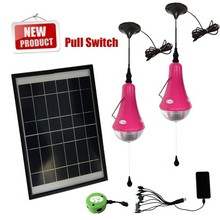 Solar interior lights for home lighting with 1/2/3 led bulb,3/6/9/12/15W Solar panel,1 remote controller