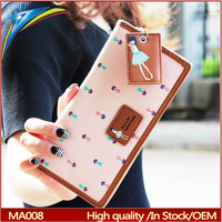 Cute long cartoon wallet to import with hanging Pendant Girls money bag