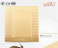 3D honeycomb design dazzile light champagne gold blank plate