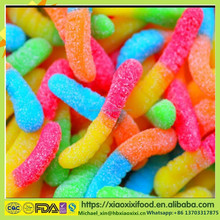 Neon sour worms gummi worms