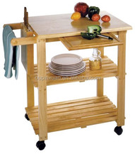 100% eco-friendly Bamboo Utility Cart multifunction kitchen trolley with knife block and cutting broad