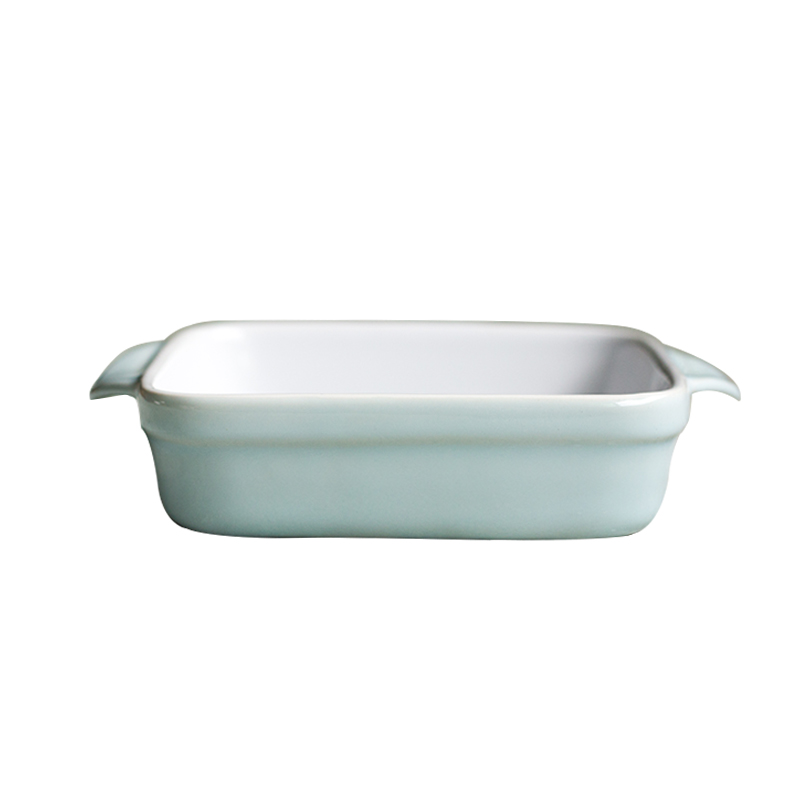 Two handles durable and safe dining room blue square baking tray