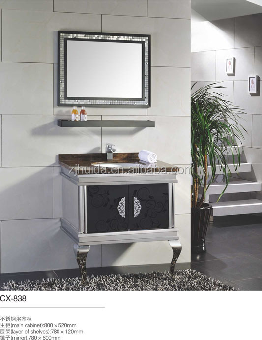 stainless Steel bathroom cabinets ss legs marble top