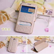 QWD factory price premium touch screen rotating view window color leather flip phone case for samsung note2