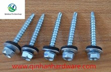 indented hexagon self-drilling screw with rubber washer attached