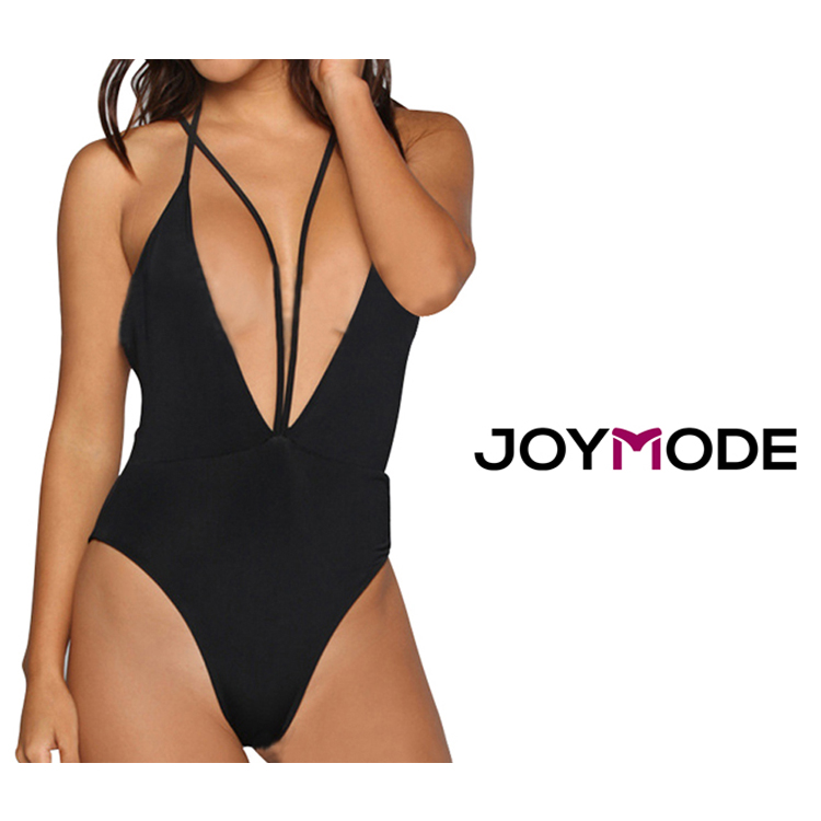 Wholesale Shop Sexy Swimwear Enticing Straps Front Exposed Breast Black High Cut One Piece Swimsuit