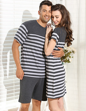 Couple Pajamas Sets Men Women Unisex Modal Sleepwear Stripe Gray Casual lovers Cotton Nightgown