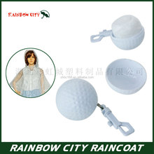 Portable golf ball breathable pe rain poncho creative raincoat and ponchos for adult