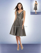 V-Neck Knee-length With Pleats Sash Patterns For Short Bridesmaids Dresses 2014 Grey Satin A-Line Prom Gown New Arrival NB0718