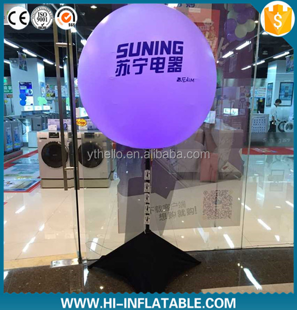 Fashion inflatable standing tripus LED balloon, glowing inflatable LED ball with tripod balloon