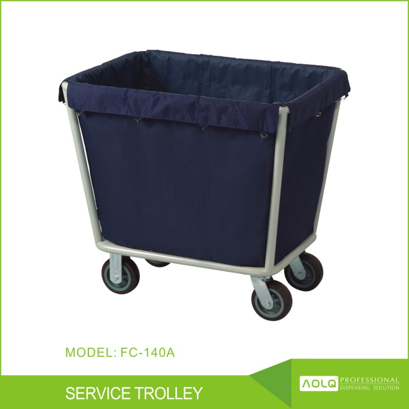 Round Stainless Steel Heavy Duty Easy-assemble soiled linen trolley, Linen Cleaning Trolley for Hotel Hospital Airport
