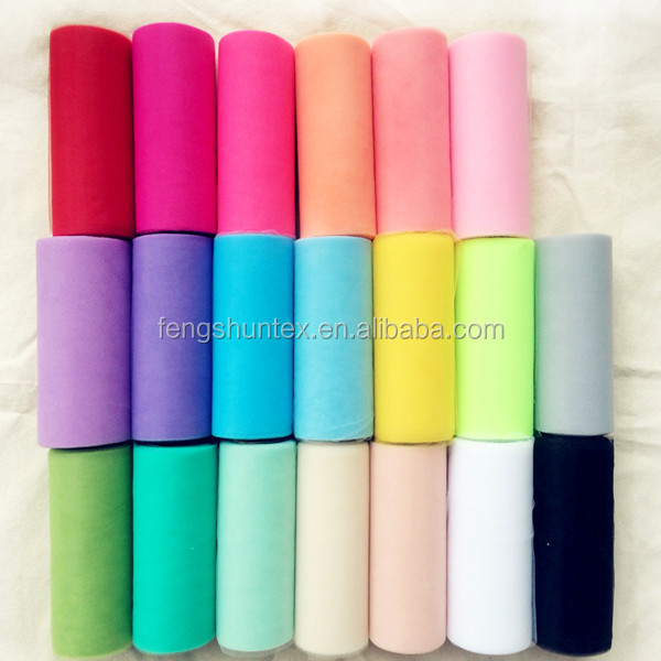 multi color 100% nylon soft tulle fabric/wholesale tulle rolls/tulle spool for tutu/ bridal/ decoration