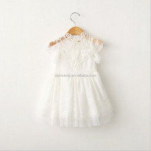 pure white lace princess girls dress long frock design