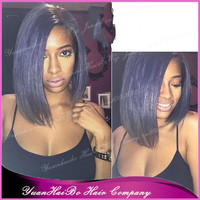 Hot Sale 7A Quality! #gray short layer style virgin brazilian hair silver grey bob lace front wig