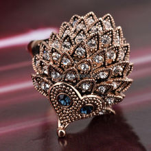 2015 golden silver crystal cute animal hedgehog rings
