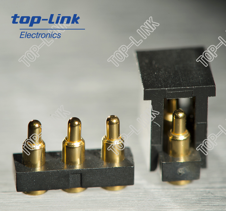 3 pin pogo pin connector with good quality plastic housing