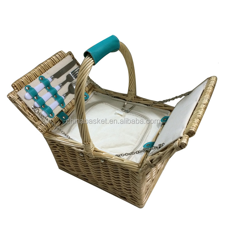 1 person natural hamper mini wholesale willow wicker picnic basket with cooler