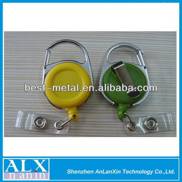 new designed plastic carabiner badge reel with rotated back clip