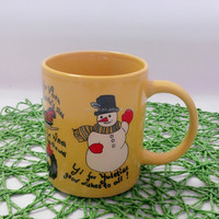 cheap coffee mug yellow color with snowman for children's day