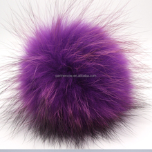 colorful real fluffy raccoon fur ball fur pom poms for hat