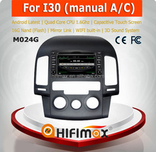 HIFIMAX Android 4.4.4 car radio dvd gps navigation system for Hyundai I30 WITH Capacitive screen+HD1024*600 Resolution