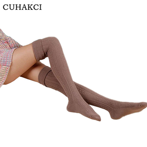 Wholesale Japanese Style Women Thigh High Stockings Knit Warmer Soft Over Knee Long Socks Spring