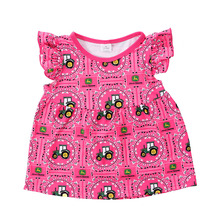 Wholesale Baby Girls Tractor Print Pearl Tunic Tops Flutter Sleeves Girls Ruffle T Shirts, Fancy Tops For Girls