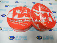 CMYK offset round tin box for candy packing
