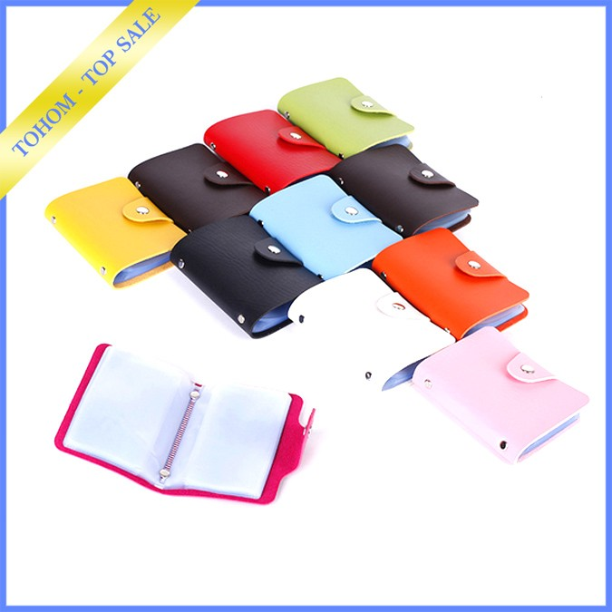 Fashion PU Leather Credit business Card Case With 24 Card Slots