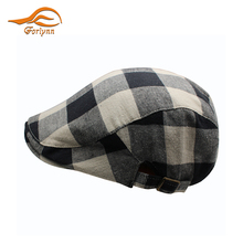 Factory supply custom vintage Checked Cotton Newsboy men ivy cap