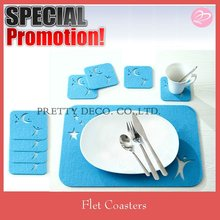 Blue color Polyester felt kitchen table mat and coaster set