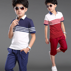 Wholesale short sleeve kids clothing blouse and pants stripe matching boys sets gentleman teenage clothing