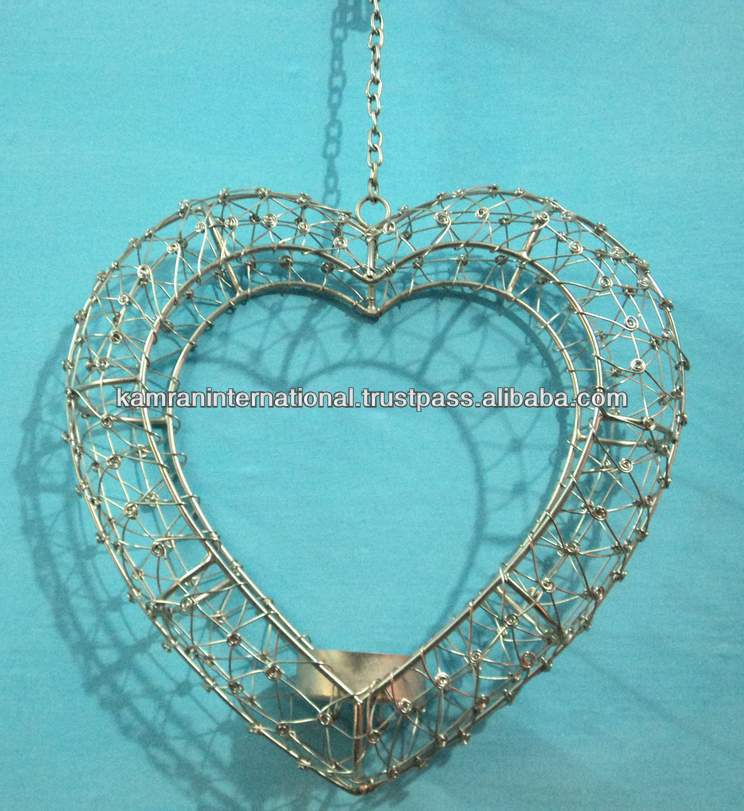 Metal hanging heart t-light decoration, Valentine decorations, Hanging Heart decoration, Christmas heart decoration