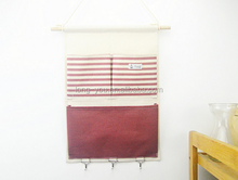 Linen/Cotton Fabric 5 Pockets Wall Door Cloth Hanging Storage Bag Home Organizer
