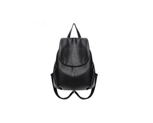 2017 Fashion Soft Solid leather black backpack bag for women