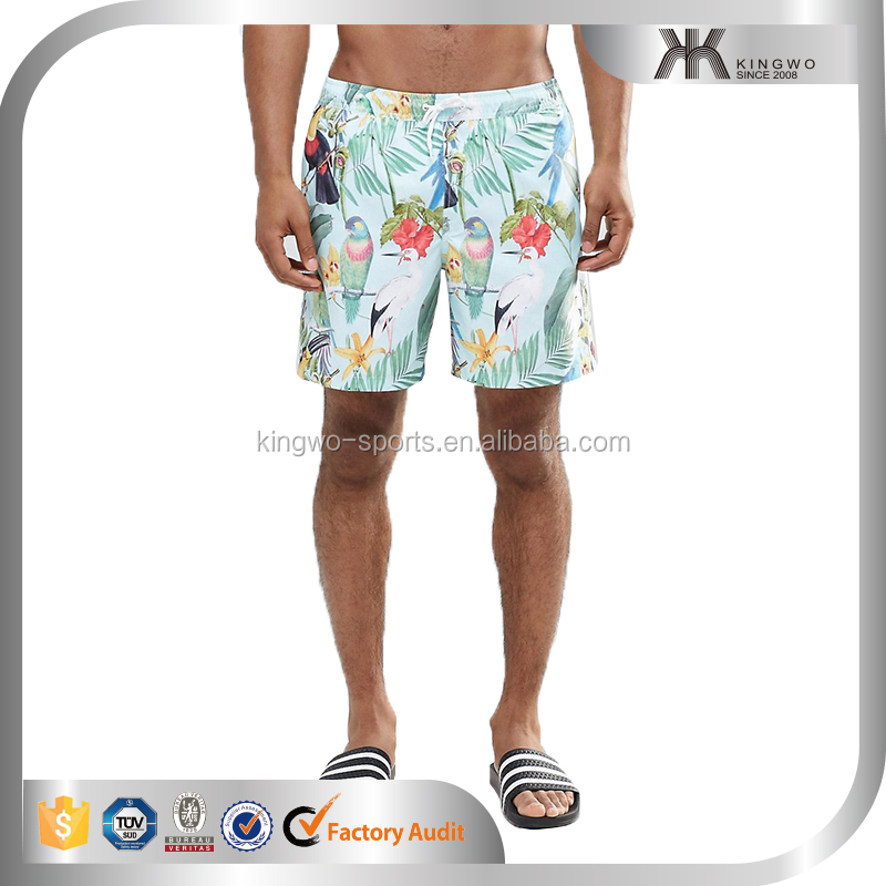 Mid men's length tropicalpattern printed swim shorts, knee pants for man